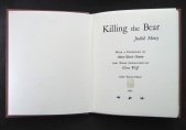 Title page from Killing the Bear by Judith Minty