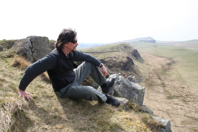 Sitting on Hadrian's Wall in northern England