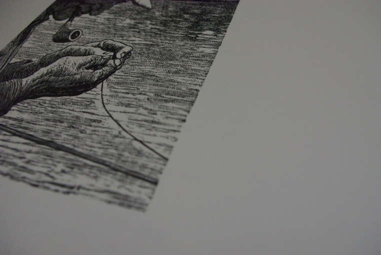 wood engraving printed over tone