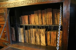 Chained books at Chetham's Library in Manchester, England where I was a keynote speaker at a letterpress conference.
