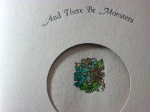 Detail of title page for the book There Be Monsters