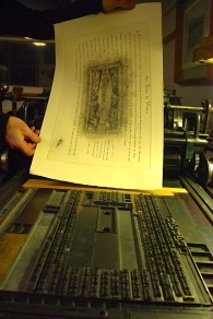 A printed sheet next to the type form