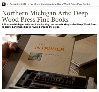 Traverse Magazine video feature of Deep Wood Press - Chad Pastotnik