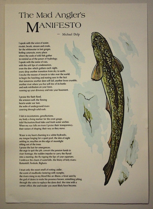 The Mad Angler's Manifesto. Color reduction linocut and poem by Michael Delp.