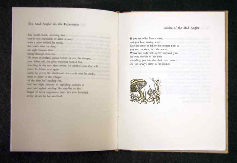 """""""Shroom"""" wood engraving with poems page spread"""