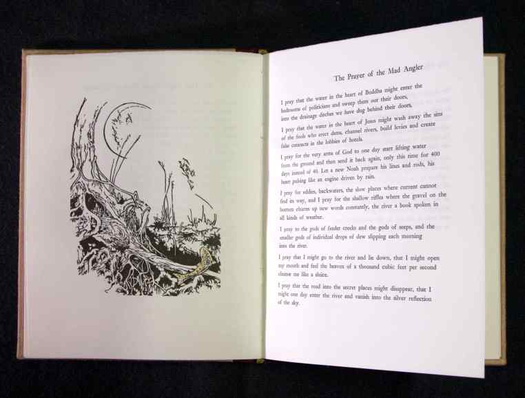 poem spread with wood engraving
