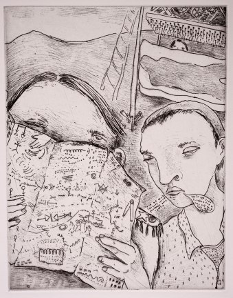 "The 6th etching for the book, ""Entitled"""